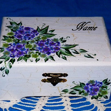 Custom Hand Painted Jewelry Box Wooden Jewelry Chest Organizer Holder Purple Hydrangea Distressed Personalized Wood Keepsake Gift