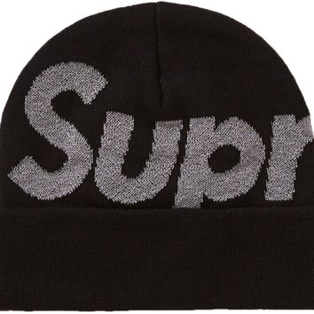 Supreme Big Logo Beanie in Black (FW18)