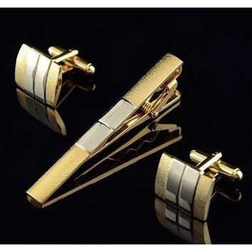 Men's Flashy Tie Bar/Clip With Matching Cufflinks