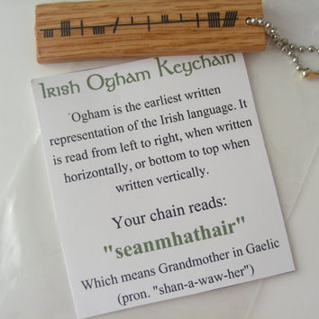"Irish Ogham Keychain ""seanmhathair"" for Grandmother - Trinity Crossing"