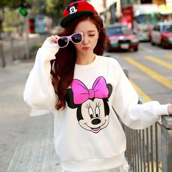 Minnie Mickey Mous Women Hoodie Mickey Cartoon Print Tops Cotton Casual O-Neck Womens Long Sleeve Pullover Sweatshirts 2018