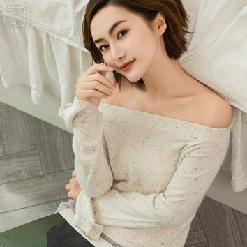 2017 New Women's Slash Neck Slit Sleeve Heather Yarn Sweater Women Fashion Angora Cashmere Sexy Pullover Jumper