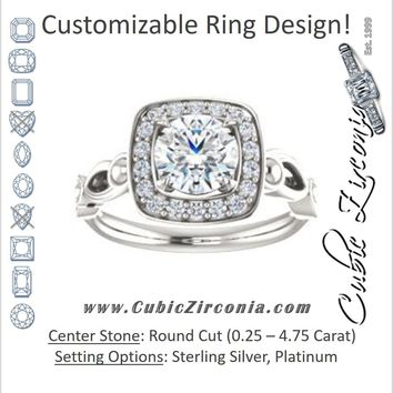 Cubic Zirconia Engagement Ring- The Deb (Customizable Round Cut Design with Large Halo, Fleur-de-lis Trellis and Bubbled Infinity Band)