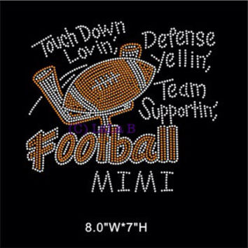 Football Mimi iron on hot fix rhinestone heat transfer - football appliqué - grandma rhinestone hotfix heat transfer
