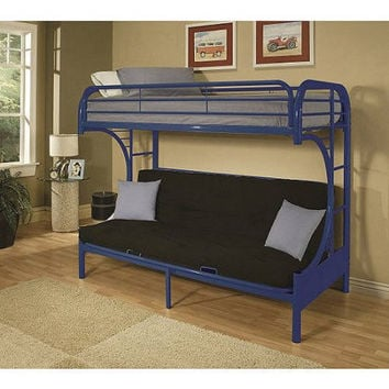 Kids, Toddlers,Teens Twin-Over-Full Futon Steel Metal Bunk Bed Childrens Bedroom Furniture