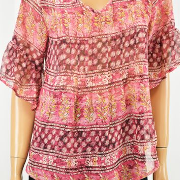 Style&Co Women Metallic Pink Printed Pleated Blouse Top Petite XS PXS