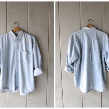 Vintage 90s Jean Shirt Oversized Button Up Washed Out Faded Blue Slouchy Denim Shirt Hipster Minimal Boho Bleached Chambray Shirt Mens XL