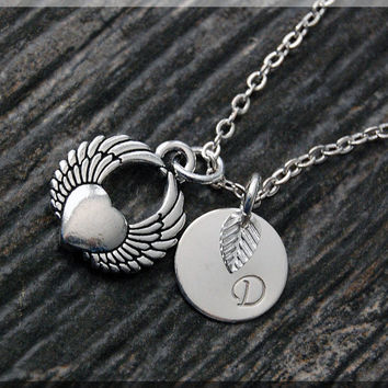 Silver Winged Heart Charm Necklace, Initial Charm Necklace, Personalized, Heart Pendant, Heart Jewelry, Monogram Love Necklace