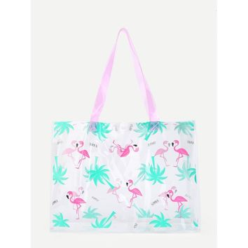 Flamingo Print Clear Tote Bag - Purse - Large Bag - Beach Bag