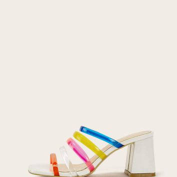 Colorful Strappy Chunky Heeled Mules