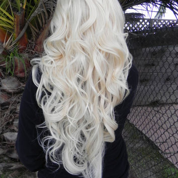 20% OFF SALE Showgirl / Blonde / Long Curly Layered Wig Full Thick Bouncy