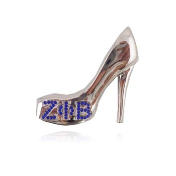 5pcs ZETA PHI BETA Sorority  ZPB   high-heel shoe  Lapel Pin brooch Jewelry(RUSH GIFTS)