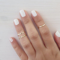 Goldfilled Stacking Ring - Set of 3 gold knuckle ring, Gold ring, Above knuckle ring, Stack midi rings, Unique gift, Gold jewelry