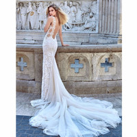 High Quality Customized Bridal Wedding Dress Mermaid Silhouette Lace Embroidered Spaghetti Backless Dress