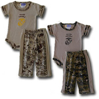 """Major Trouble"" 2-Piece Set in Woodland or Desert Digital Camo, Marine Corps Infant and Baby Major Trouble Outfit"