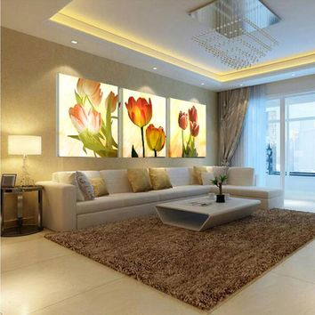 picture canvas paintings print wall Modular Pictures for living room art oil modern 3 piece flower modular painting No frames
