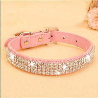 Personalized Dog Cat Pet Collar BLING PU Leather Rhinestone Diamante