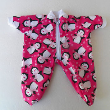 "Bitty Baby Clothes Handmade for Twin Girl or Baby Doll 15""  Pajamas Pjs Sleeper Bright pink penguin Flannel Zip Up Feetie"