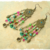Boho Gypsy Chandelier Earrings, Fiesta Assemblage Earrings, Colorful Vibrant Bohemian Jewelry, Boho Style Me, Kaye Kraus