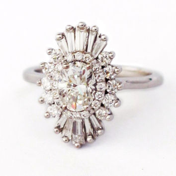Lindy Ring - Art Deco, engagement, custom made, vintage, anniversary - white sapphires, diamonds, moissanite, morganite, black diamonds