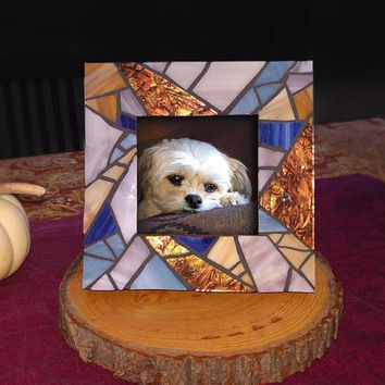 Small Mosaic Picture Frame, Stained Glass Purple Blue Picture Frame, 3x3 Photo Frame, Baby Birthday Gift, Upcycled Wooden Frame