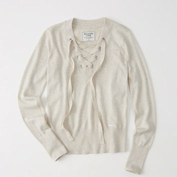 Womens Lace-Up Sweater | Womens Tops | Abercrombie.com