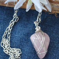 Rose quartz necklace; wire wrapped rose quartz; pink stone necklace; rose quartz pendant; wire wrapped stone; January birthstone; love stone