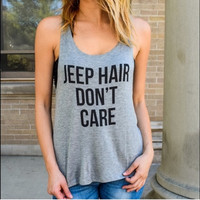 JEEP HAIR DON'T CARE Printed Round Necked Sleeve Tank Vest Four Color Options T-Shirt Top a11115