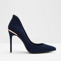 Pointed leather court shoes - Dark Blue | Footwear | Ted Baker UK