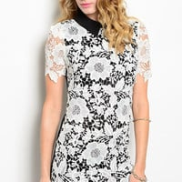 Collared Short Sleeve Crochet Lace Dress