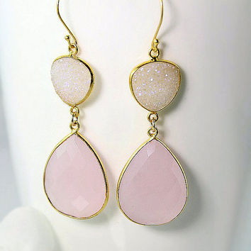 Pink Quartz Double Drop Earrings, Snow White Druzy,  Genuine Rose Quartz Dangle, Light Pink, Long Pink Earrings, Prom Night