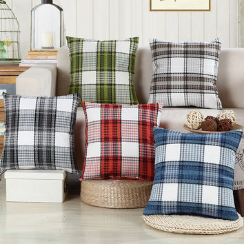 Decorative throw pillows cushion cover without insert grid printing almofadas housse coussin