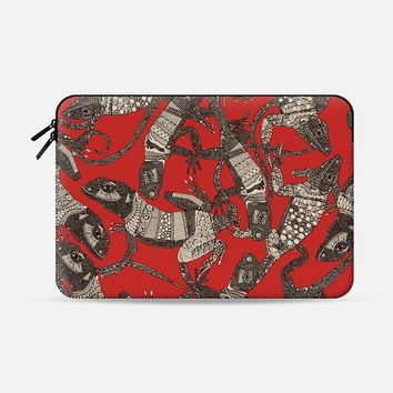 just lizards red Macbook Pro 13 sleeve by Sharon Turner | Casetify