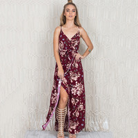 Floral  Print V-Neck Strappy Slit Dress  11752
