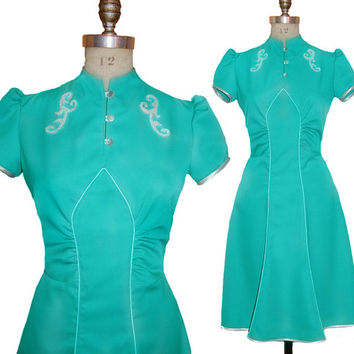 1930s Style Art Deco Aqua Teal Gaberdine Dress Made from Vintage Pattern size XXL