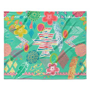 "Anneline Sophia ""Aztec Boho Emerald"" Teal Rainbow Fleece Throw Blanket"