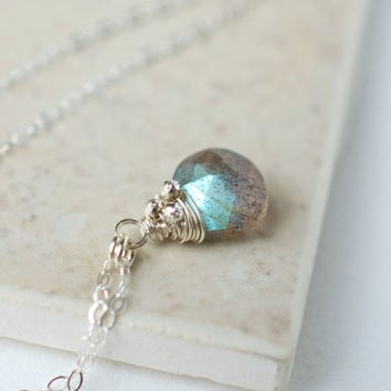 Labradorite Briolette Pendant in Sterling Silver, Delicate Gemstone Necklace, Everyday Jewelry