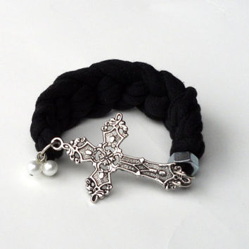 Chunky Sideways Cross Cuff  Bracelet Eco Friendly