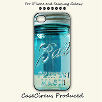 Ball Mason Jar,Vintage Glass Blue Tea,iPhone 5 case, iPhone 5C Case, iPhone 5S , Phone case, iPhone 4S , Case,Samsung Galaxy S3, Galaxy S4