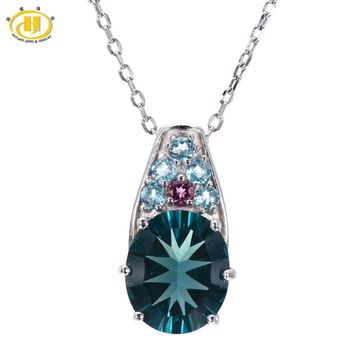 Hutang Natural Blue Fluorite & Tourmaline & Apatite Pendant 925 Sterling Silver Necklace Gemstone Fine Jewelry Hutang Gemstone