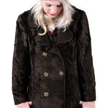 Vintage Brown Crushed Fur Coat