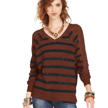 Free People Top, Three-Quarter V-Neck Striped Lace Sweater