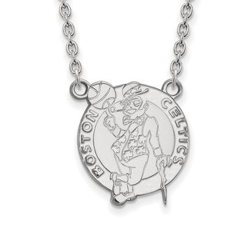 NBA Boston Celtics Large Pendant Necklace in Sterling Silver - 18 Inch