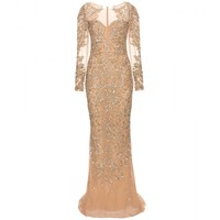 Floor-length embellished silk gown