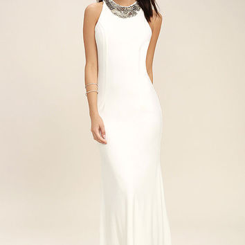 Pledging My Love White Beaded Maxi Dress