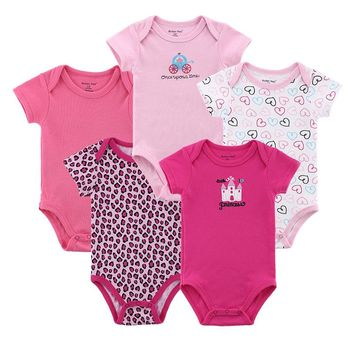5 pcs/ lot Mother Nest Baby Pajamas Newborn Baby Rompers Infant Cotton Short Sleeve Clothing Boy Girl Wear Overall