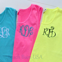 Monogram Shirts Swim Suit Cover Beachwear Comfort Colors Tank Tops