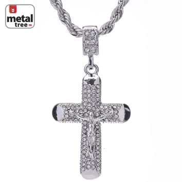 "Jewelry Kay style Men's Hip Hop 14K Gold Plated Jesus Cross 24"" 4mm Rope Chain Pendant Necklace"