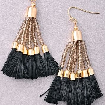 Flaunt it Black Tassel Earrings