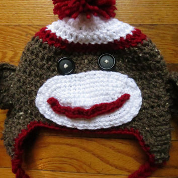 Sock Monkey Crochet Hat, Red/Oatmeal/White with Pom Pom, *CUSTOM ORDER ONLY*, Multiple Sizes and Colors Available